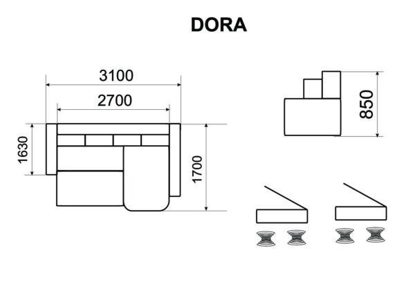 Nurgadiivan-voodi Dora 10